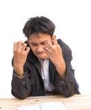 Свирепствовать бизнесмена, расстроенный, на белой предпосылке Стоковые Фотографии RF