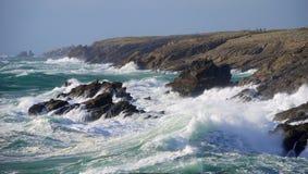 Свирепствуя море и шторм, Франция Стоковое фото RF