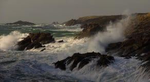 Свирепствуя море и шторм, Франция Стоковые Изображения RF