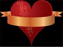 свирли красного цвета сердца знамени золотистые Стоковое фото RF