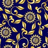 свирли солнцецвета сари картины безшовные Стоковое Изображение