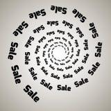 Свирль, предпосылка вортекса Вращая спираль Слово, текст, продажа, дело, коммерция, скидки Стоковые Изображения RF