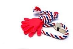 Свистк-striped флаг Таиланда с красной пластмассой руки. Стоковое Изображение RF