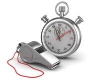 Свисток и секундомер иллюстрация вектора