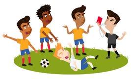 Свисток рефери футбола шаржа дуя, держа красную карточку, решал игрока принимая пикирование, оппонентов жалуясь иллюстрация штока