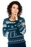 свитер девушки рождества Стоковая Фотография