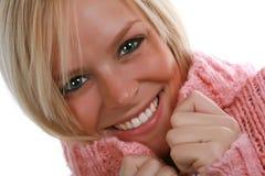 свитер девушки счастливый Стоковые Изображения