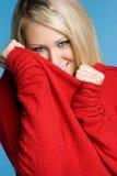 свитер девушки шаловливый Стоковая Фотография