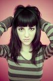 свитер striped девушкой Стоковое Изображение RF