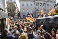 Свобода митингов протеста и независимость Испания Каталония Барселона Стоковое Фото