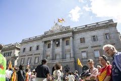 Свобода митингов протеста и независимость Испания Каталония Барселона Стоковое фото RF