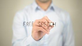 Свобода слова, сочинительство человека на прозрачном экране стоковые изображения