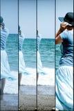 Свободное движение женщин - отдохните, релаксация на пляже моря стоковые фотографии rf