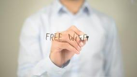 Свободное WIFI, сочинительство человека на прозрачном экране Стоковые Изображения