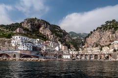 Свободный полет Amalfi от моря, Италии Стоковое Изображение RF