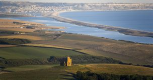 свободный полет dorset Англия chesil пляжа Стоковая Фотография RF
