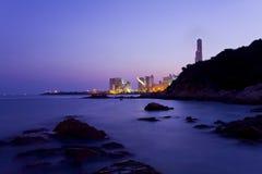 свободный полет Hong Kong над заходом солнца Стоковая Фотография