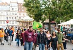 Свобода для протеста Abdullah Ocalan на улице страсбурга Стоковая Фотография