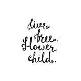 Свободная в реальном маштабе времени Ребенок цветка Вдохновляющая цитата о свободе иллюстрация штока