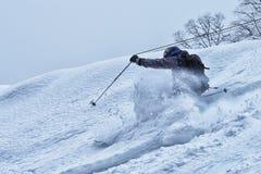 Свободно-всадник в снеге порошка Стоковые Изображения RF