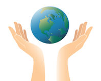 Свободные руки сохраняют вектор значка мира Стоковая Фотография
