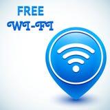 Свободный значок wifi, метка положения иллюстрация вектора
