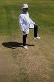 Свободный от игры день ноги signaling судьи на вышке сверчка во время спички стоковое изображение rf