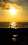 свободный полет над заходом солнца Стоковые Фото