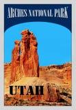 Своды национальный парк, Юта, плакат знака Стоковое фото RF