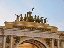 Свод конца-вверх генерального штаба святой petersburg России моста okhtinsky Стоковые Фотографии RF