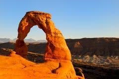 свод сгабривает чувствительный заход солнца национального парка стоковые фото