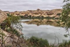Свод Namibe оазис в пустыне которая обычно заполняет каждые 6 лет в зависимости от дождя anisette вышесказанного Namibe стоковое фото rf