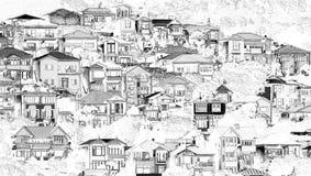 Свойства домов горного склона в черно-белом Иллюстрация вектора