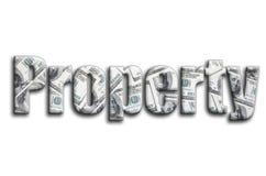 свойство Надпись имеет текстуру фотографии, которая показывает много счеты доллара США стоковое фото