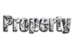 свойство Надпись имеет текстуру фотографии, которая показывает много счеты доллара США стоковые изображения rf