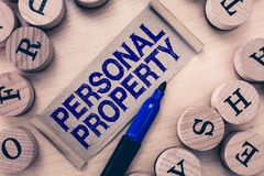 Свойство текста сочинительства слова личное Концепция дела для вещей которым вы имеете и можете принять его с вами подвижными стоковая фотография rf