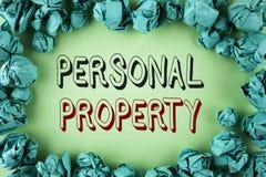 Свойство текста сочинительства слова личное Концепция дела для предпринимателя частного лица имуществ владениям пожитков написанн стоковые фотографии rf