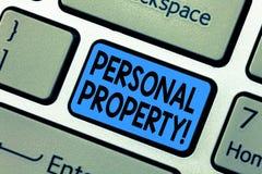 Свойство текста сочинительства слова личное Концепция дела для владельца частного лица имуществ владениям пожитков стоковые изображения rf
