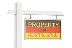 Свойство для продажи и рента в концепции Германии Знак недвижимости, Стоковое Фото
