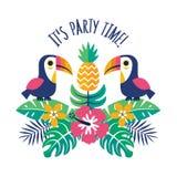 Свой ананас toucans шаблона приглашения времени партии тропический Стоковая Фотография RF
