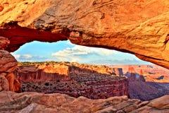 Свод на заходе солнца, национальный парк мезы Canyonlands, Юта Стоковые Изображения RF
