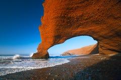 Своды камня Legzira, Атлантический океан, Марокко Стоковые Изображения RF