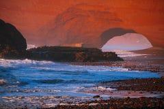 Своды камня Legzira, Атлантический океан, Стоковое Изображение RF