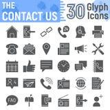 Свяжитесь мы комплект значка глифа, собрание символов сети иллюстрация штока