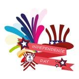 Свяжите поздравления тесьмой на День независимости США Стоковое Изображение