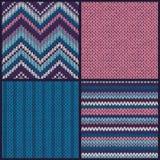 связанная картина безшовная Комплект собрание голубой розовой белизны Стоковые Изображения RF