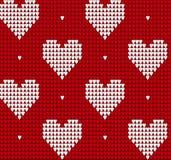 Связанная картина текстуры безшовная с сердцами Стоковая Фотография