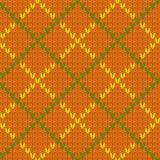 Связанная картина формы диаманта безшовная в зеленом цвете и апельсине, векторе Стоковая Фотография RF