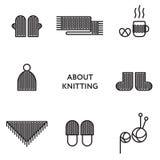 Связанная одежда Комплект плоской линии значков самомоднейше Стоковые Изображения RF