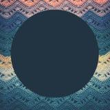 Связанная пестротканая хлопко-бумажная ткань в холодных голубых тонах Круглое голубое Стоковая Фотография RF